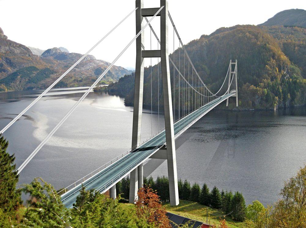 Stålmontører fra det nederlandske firmaet HSM BV har vært i norske fjorder flere ganger før. Nå kommer de tilbake for å montere stålet på Dalsfjordbrua. Ill.: Statens vegvesen