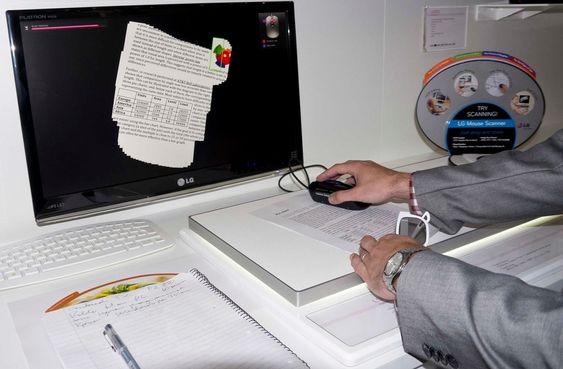 SKANNERMUS: Denne musa har en innebygget skanner som gjør at man kan male frem bilder og dokumenter på skjermen.