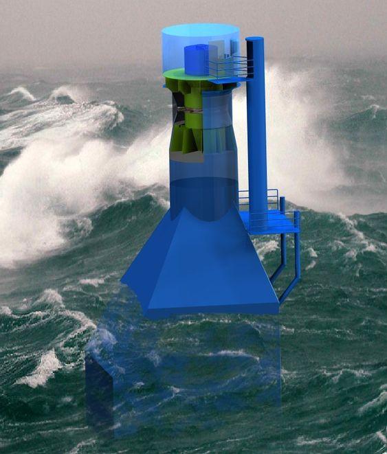 """BØLGER OG LUFT: Dette er """"Oscillating Water Column""""-konseptet (OWC)"""