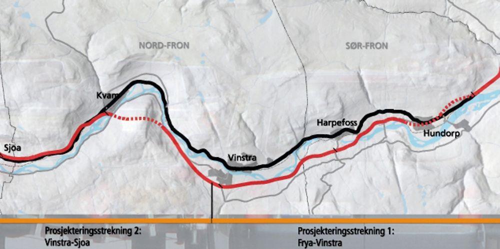 Kartet viser hele strekningen Frya-Sjoa. Prosjekteringsstrekningen som er ute på anbud nå, ligger til venstre for den vertikale streken nederst. (Ill.: Statens vegvesen)