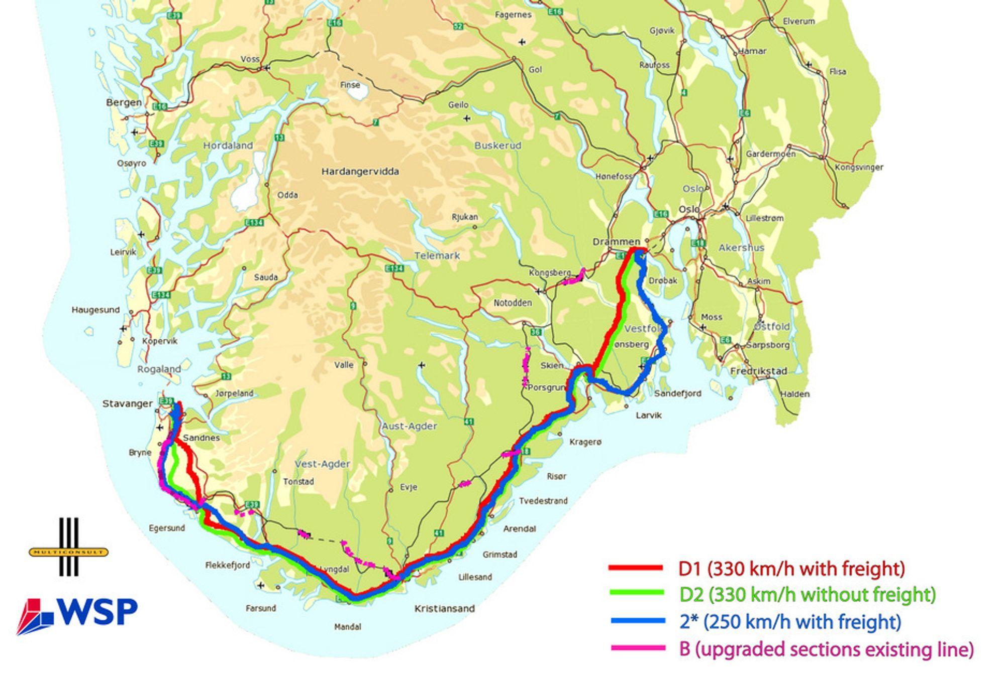 KYSTNÆR: Trasévalget som Multiconsult har kommet frem til langs Sørlandskysten går nærmere kysten enn dagens llinje. Linjene D1 (rød), D2(grønn) og 2*(blå) er alle nye. B, oppgradering av dagens linje, er kun vist med rosa der det er behov for endringer.