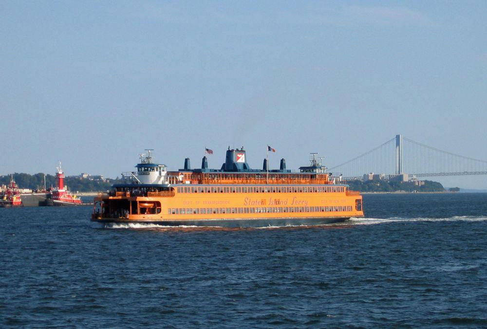 LNG-PILOT: En av de åtte Staten Island-fergene bygges nå om fra diesel til LNG-drift.