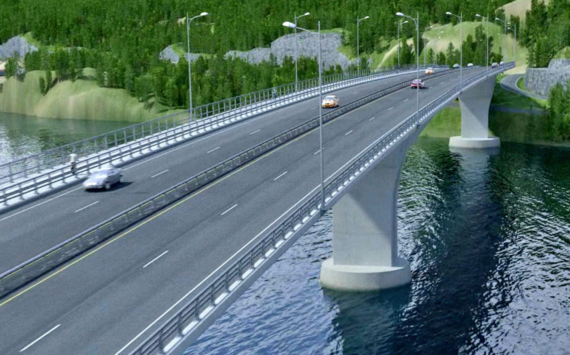 Dette blir Norges bredeste fritt-frambyggbru. Som ventet fikk Reinertsen jobben med å bygge den. Ill.: Aas-Jakobsen