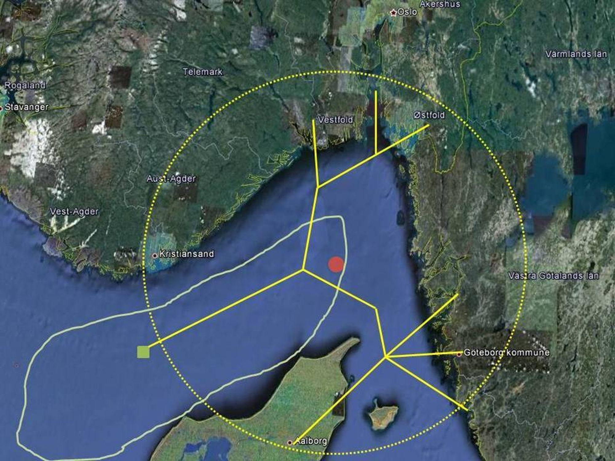 NETTVERK: Rørsystemet Nordiccs kan innenfor en radius av 100 kilometer ta mer enn 10 millioner tonn CO2 årlig fra industrien og lagre i de store geologiske formasjonenw Haldanger og Gassum som ligger 2000 meter under havbunnen i Skagerak. Injeksjonspunktet må ligge på norsk sokkel, da Norge er det eneste landet som hittil har godkjent avtalen om lagring av CO2 i havbunnen. 53 land står på ventelisten.
