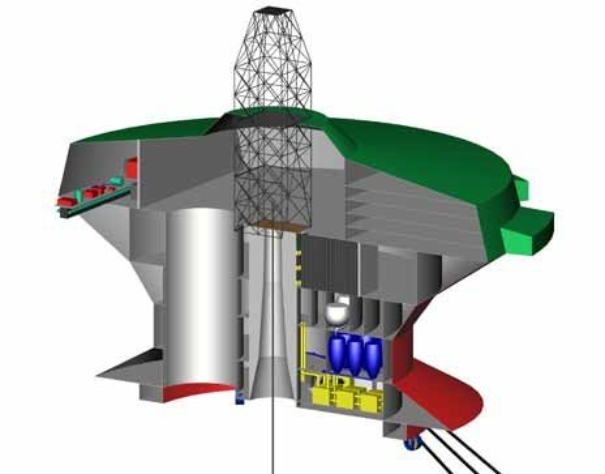 TVERRSNITT: Overbygget plattform sikrer arbeidsmiljøet uansett vært. Borestrengen går ned i moonpool i midten- Moonpool ved siden av brukes til ROV-er og vedlikeholdsutstyr. Riser går inn i rommet til venstre der det er containere for boreslam, kjemikalier og til borekaks. Eventuell gassutslipp vil luftes ut. I tilfelle eksplosjon, vil yttervegg og tak blåses ut for å beskytte resten av strukturen.