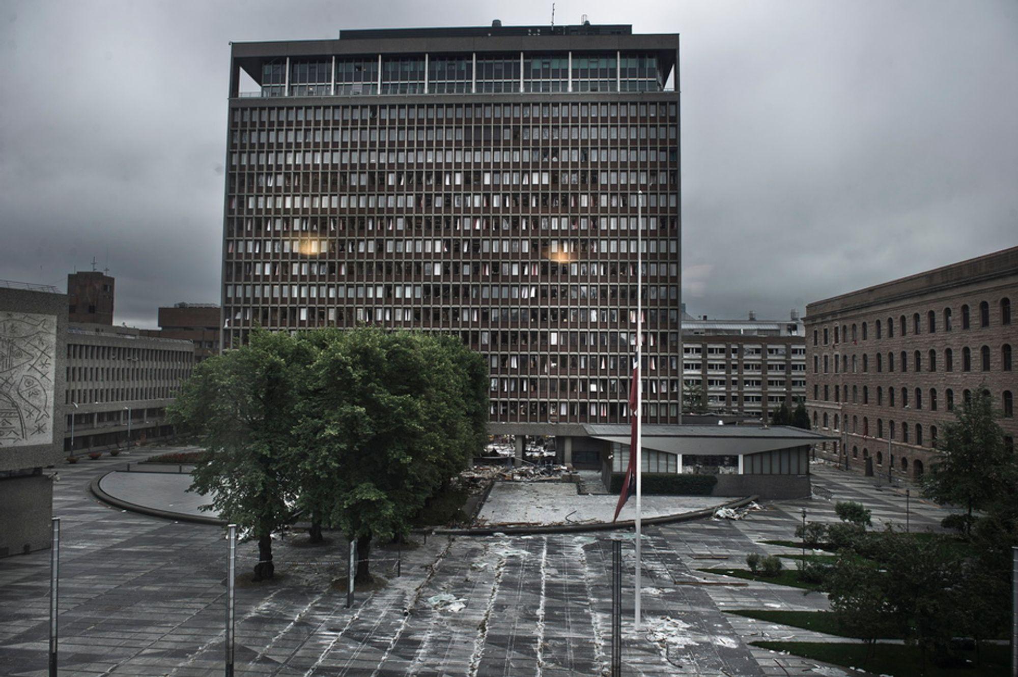 Høyblokka etter terrorhandlingene mot Regjeringskvartalet og Utøya 22. juli 2011