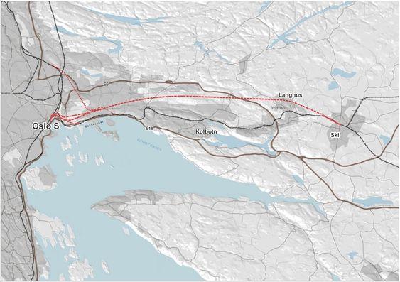 STREKNING: Follobanen er et nytt, 22 km langt dobbeltspor mellom Oslo og Ski, og skal tilpasses en eventuell, framtidig høyhastighetsbane. Banen får Norges lengste jernbanetunnel (prikket linje) på 19 km og med to løp.