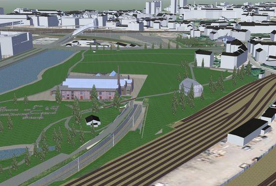 MULIG LØSNING: Et av de avbøtende tiltakene Jernbaneverket har vurdert i konsekvensutredningen, er å bygge et lokk over banen bak Middelalderparken. Det er et av de dyrere avbøtende tiltakene, men også ett av tiltakene som kanskje vil bety mest for omgivelsene.