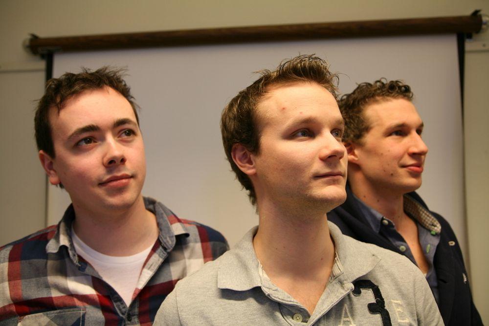 INGENIØRSPILLET: Gøran Berntsen (fra venstre), Bård Gamnes og Andreas Bertheussen er overrasket over den voldsomme interessen.