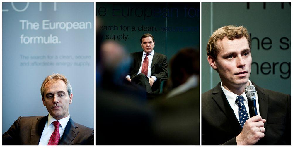 Dr. Rainer Seele i Wintershall, Gerhard Schröder og Ola Borten Moe har debatt rundt hvilken rolle Norge skal spille i EUs fremtidige energimiks.