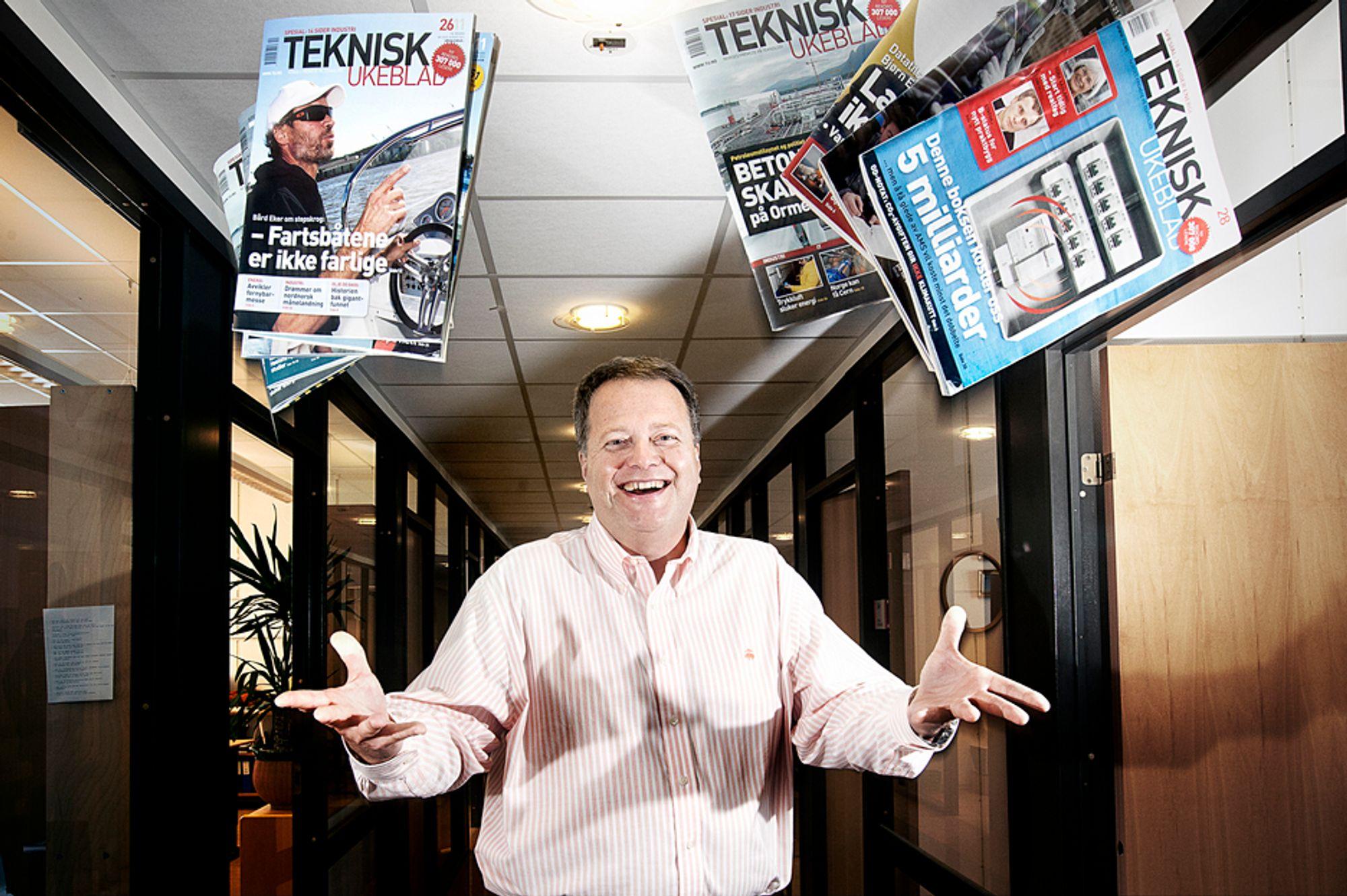 Adm.dir og utgiver Jan Moberg feirer leservekst i Teknisk Ukeblad. Magasinet leses nå av 317.000 hver uke.