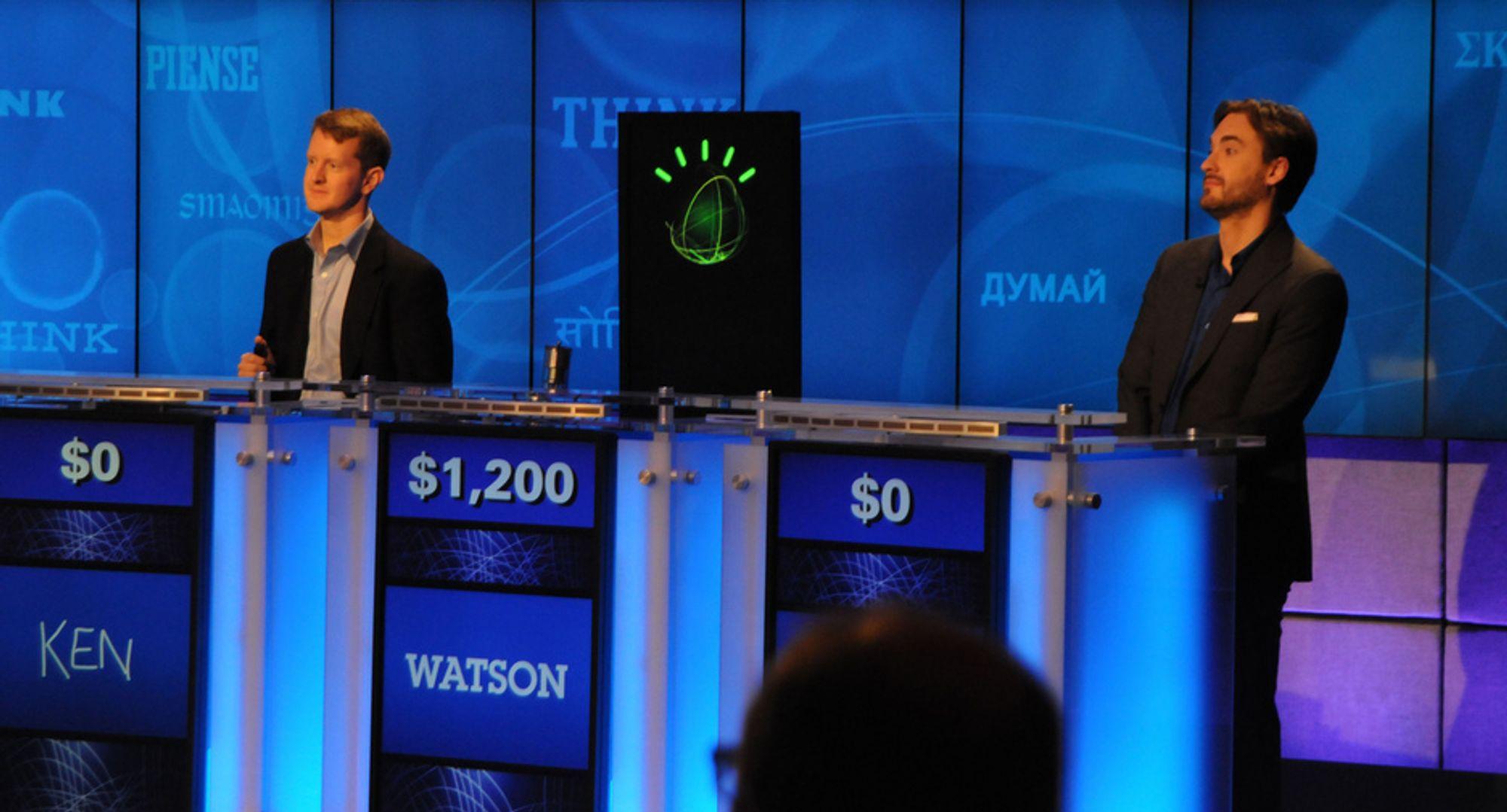 DATAKJEMPE: Den kraftige datamaskinen Watson danket ut drevne deltakere i tv-quizzen Jeopardy. Nå skal den hjelpe leger å stille diagnose og gi rett dose medisiner.