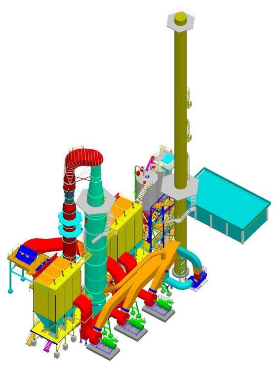 SKISSE: 3D-illustrasjon som viser et filter- og gjenvinningssystem for fluorider ved et aluminiumsverk.