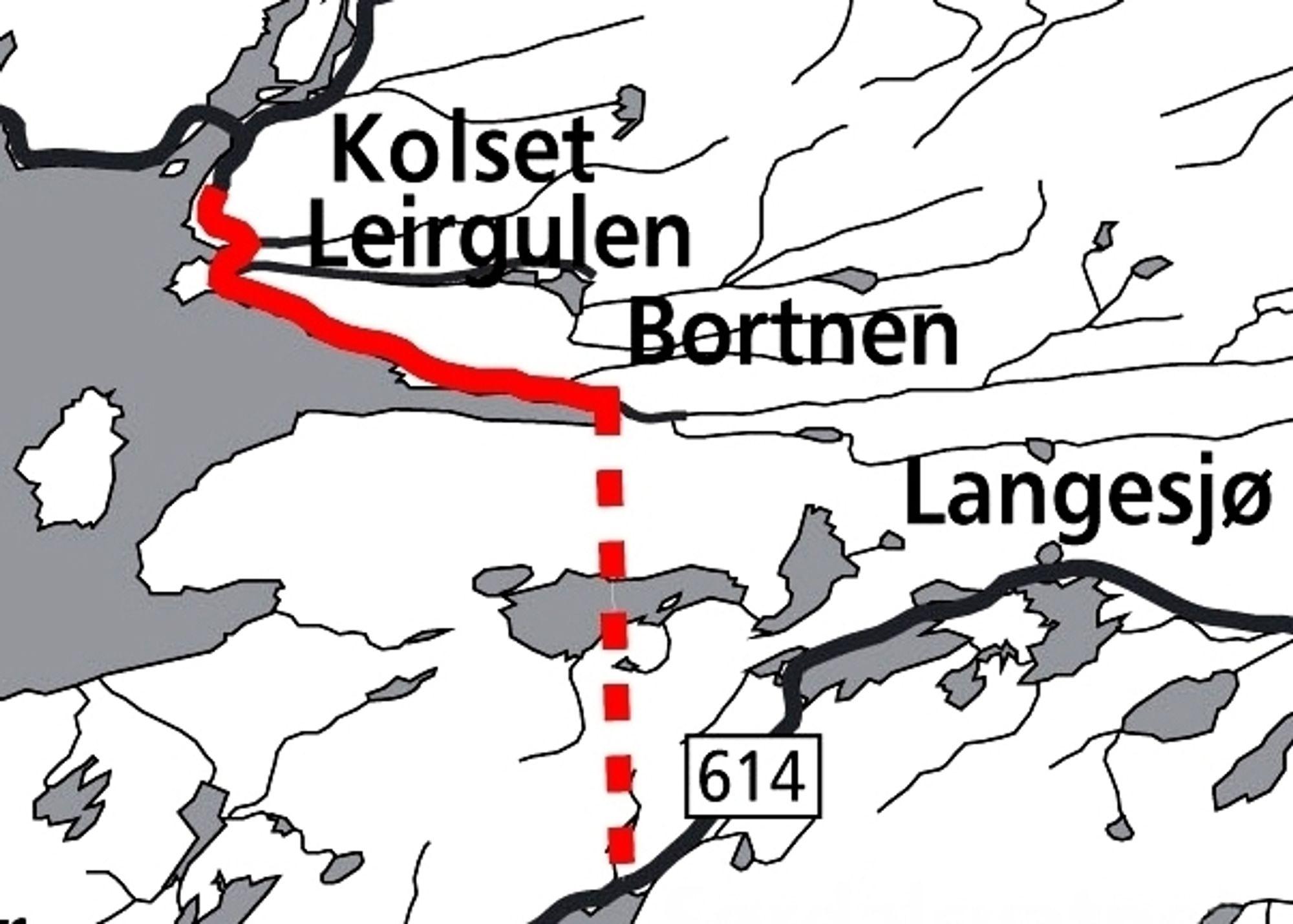 K. A. Aurstad skal anlegge vegen som er markert med heltrukket rød linje. Den stiplete linjen nedenfor viser traséen til Bortnetunnelen. Ill.: Statens vegvesen