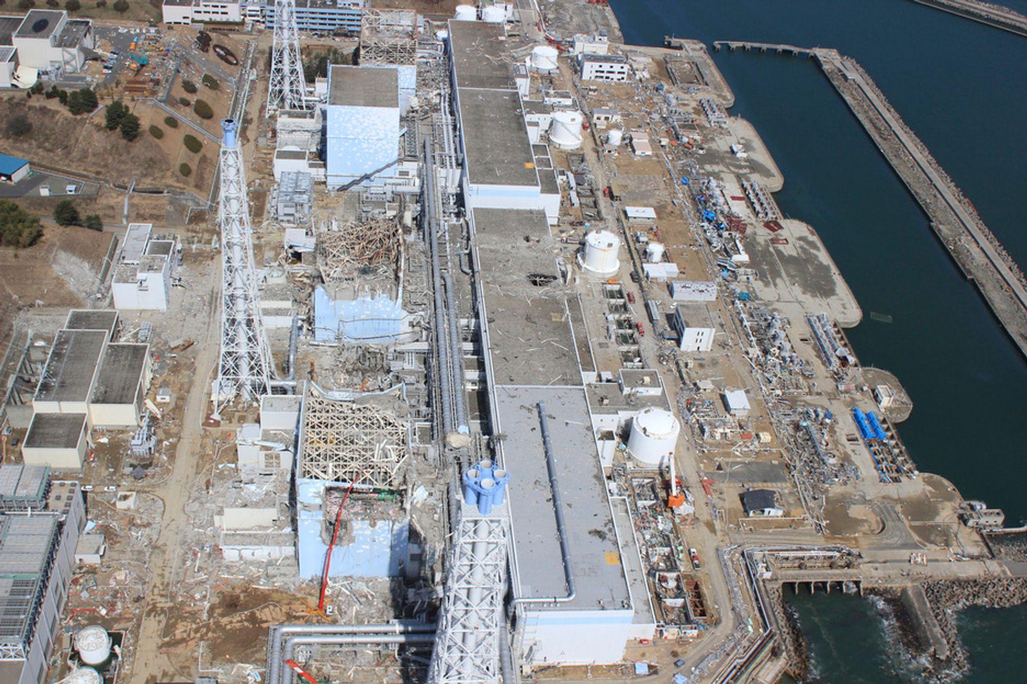 Luftfoto av atomkraftverket Fukushima Daiichi.