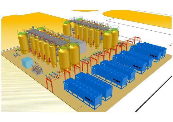 DESIGN: Cambi går nå over til en hel rekke Autodsek-programmer for å prosjektere biogassanlegg. Illustrasjonen viser arrangement til et anlegg i Manchester, UK.