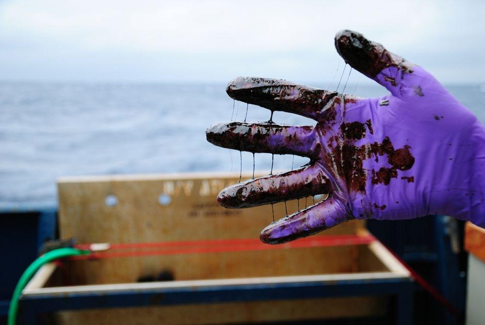 Oljesøl på hånd fra Mexicogolfen.
