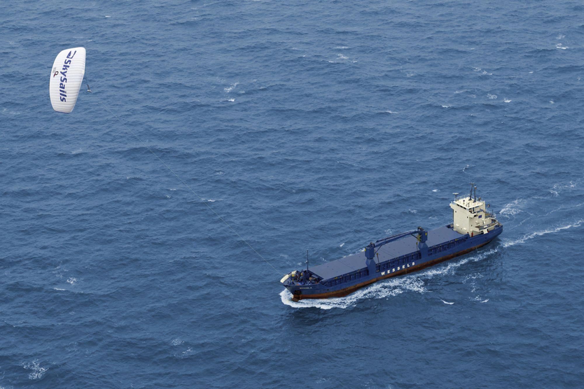 TESTET: Lasteskipet Michael A har testet ut Skysails over lang tid. Det har medført flere justeringer og forbedringer av teknologien og utstyret.