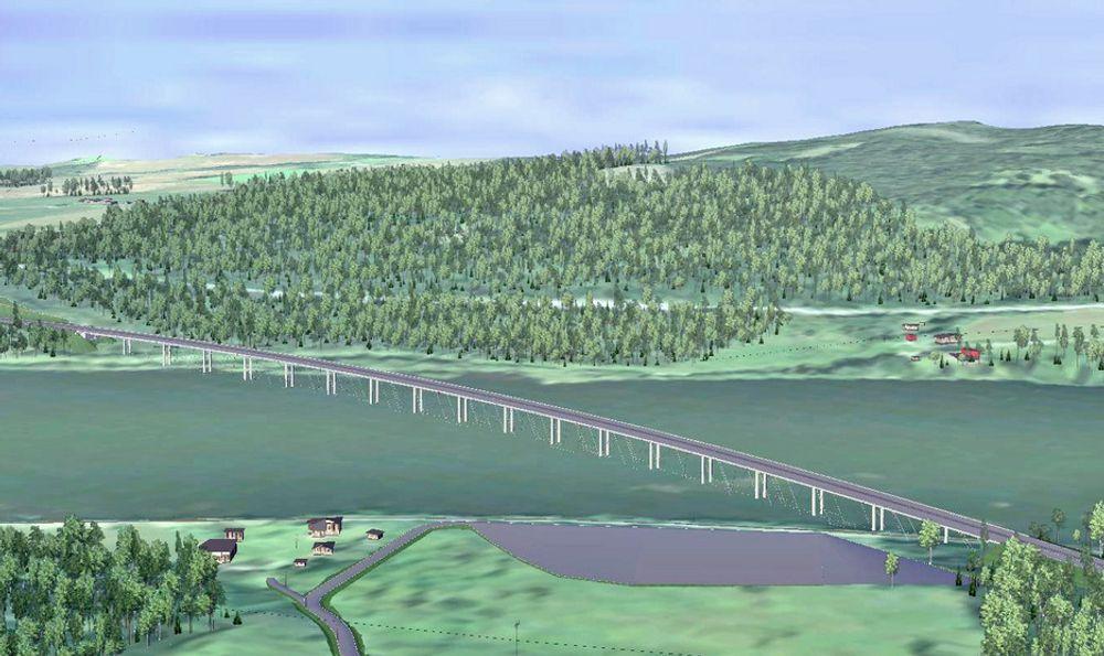 HAB Construction leder kampen om kontrakten på bygging av denne brua sammen med det østerrikske firmaet Alpine Bau Gmbh, som bygger Kåfjordbru i Finnmark. Ill.: Statens vegvesen