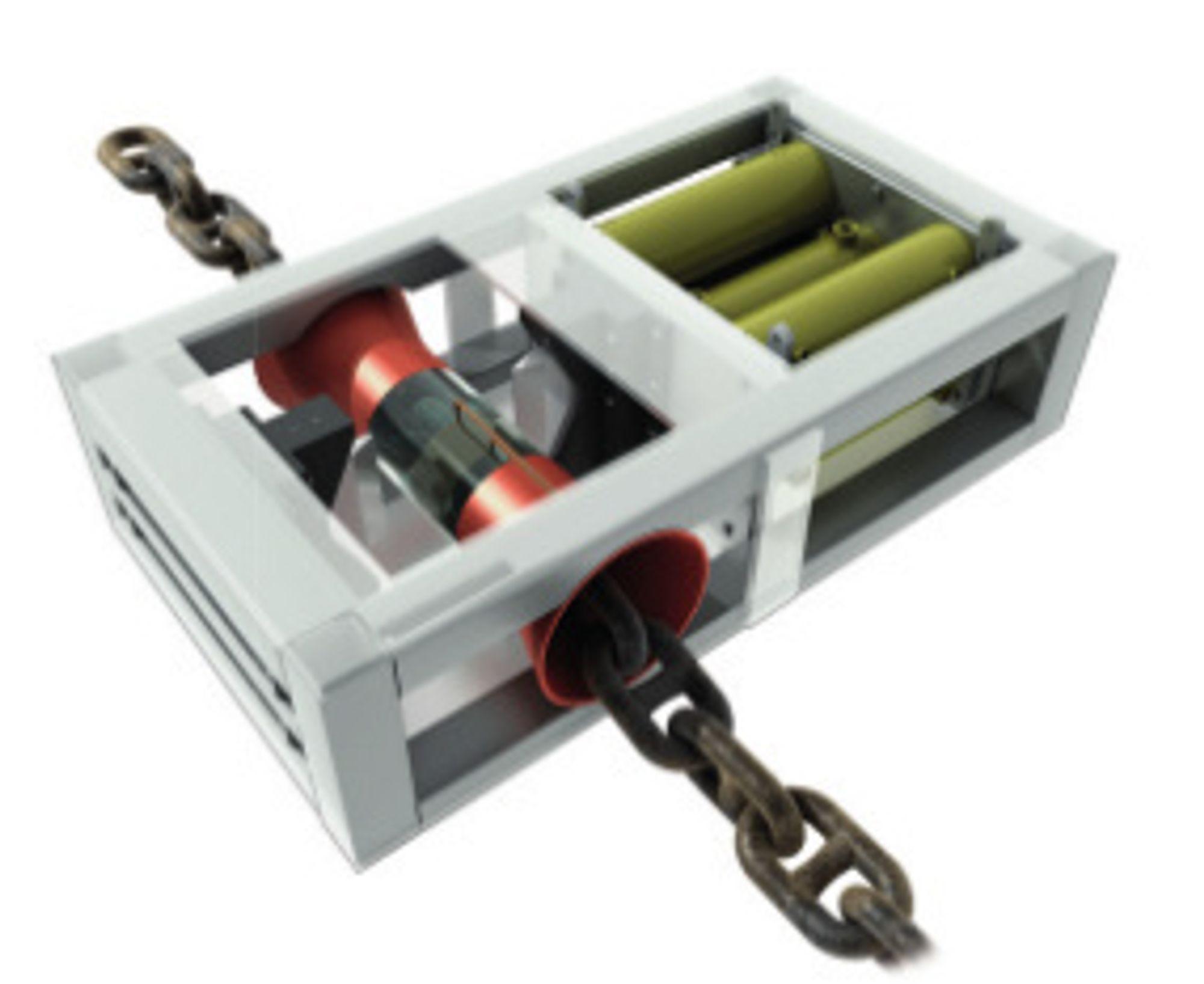 KAPPER STÅL: Prinsippskisse av Control Cutter for nødkapping av ankerkjettinger og wirer om bord i ankerhåndteringsfartøy.