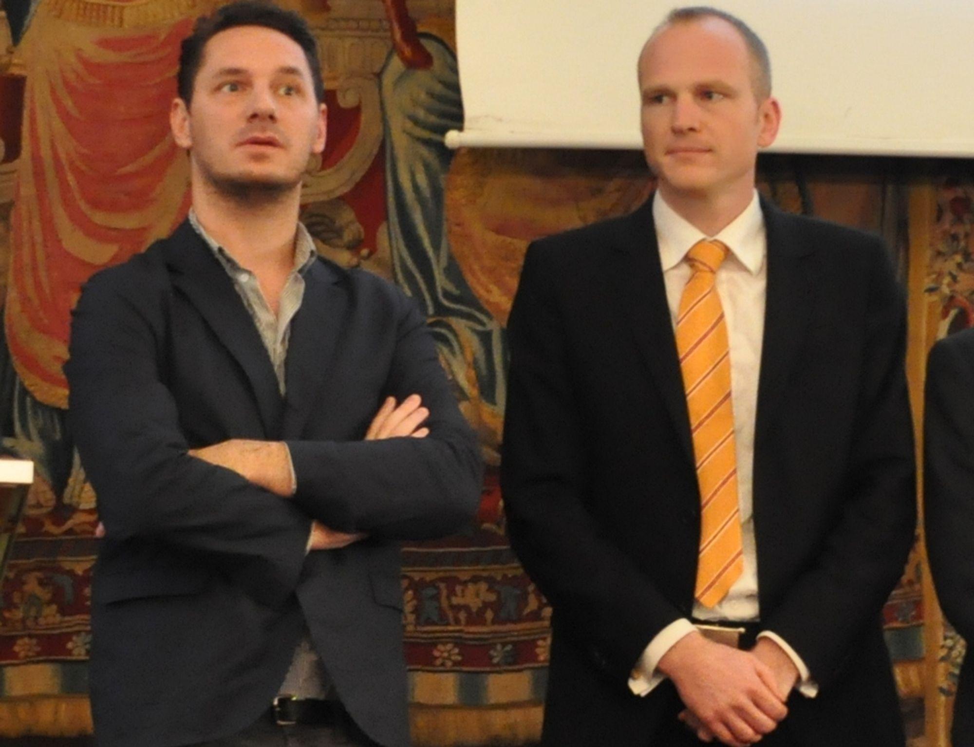 ANSPENT: Arkitekt Julien de Smedt og ingeniør Florian Kosche mottok Norsk Stålkonstruksjonspris 2011 på Ståldagen 3. november i år.