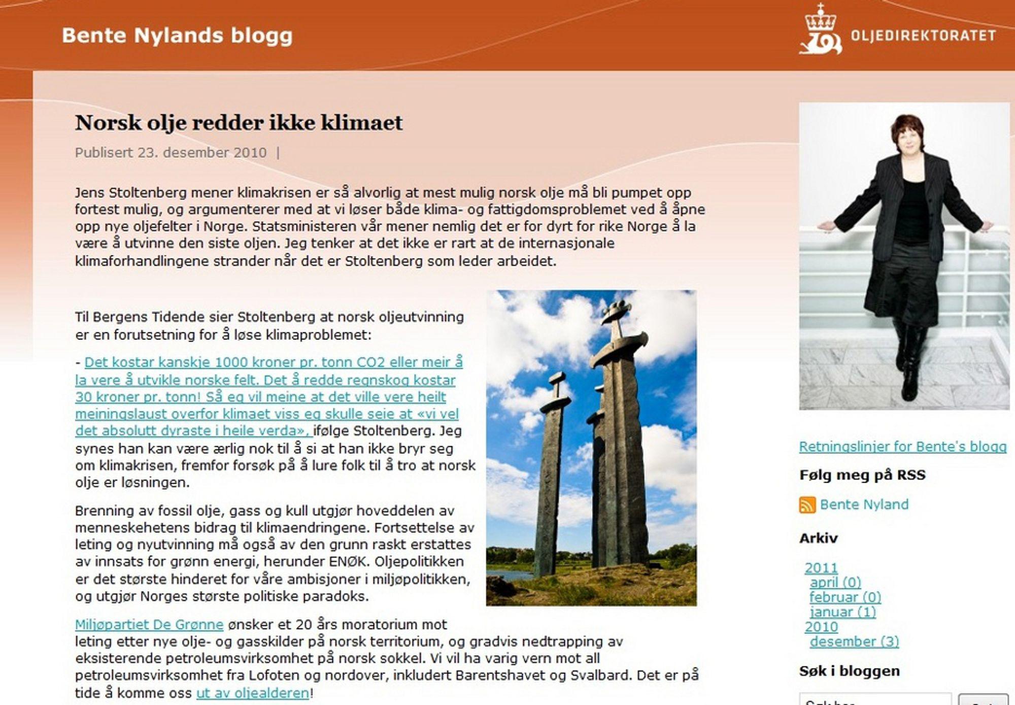 INNLEGGET: Slik så det ut, innlegget på Bente Nylands blogg.