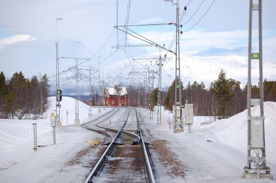 Kryssingsspor ved Rautas stasjon på Malmbanan / Ofotbanen nord for Kiruna.