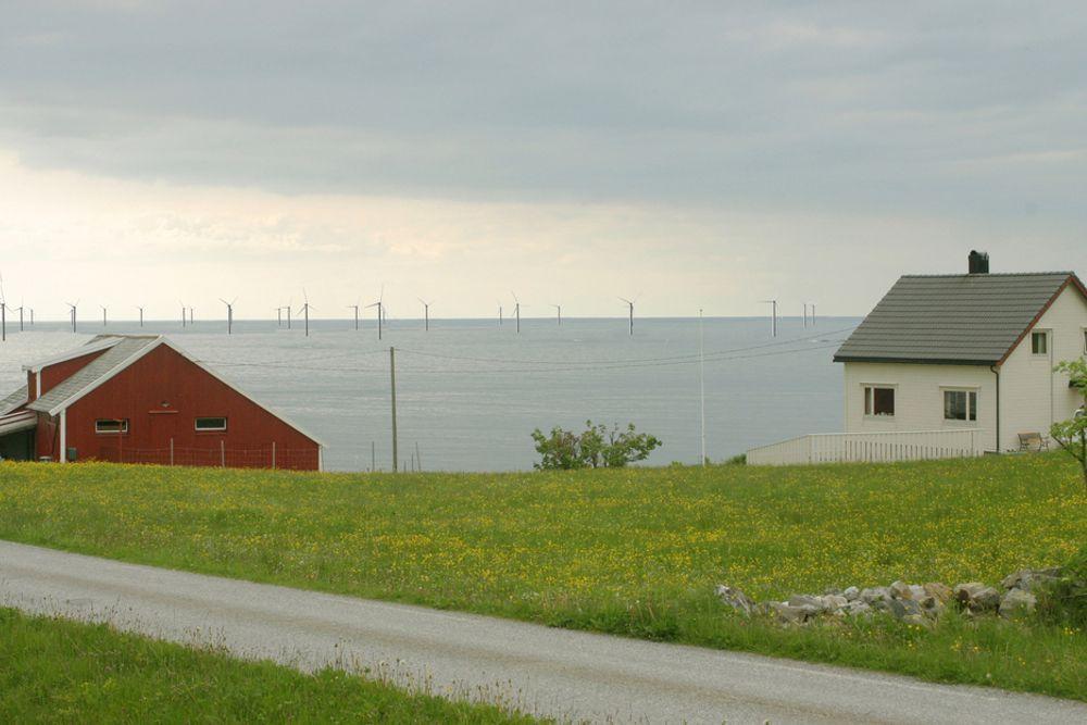 KONFLIKT: Gode miljøovervåkningsprogram vil kunne bidra til å redusere konflikter, mener Direktoratet for naturforvaltning. Slik kan havmølleparken Havsul 1 bli seende ut. Fotomontasje