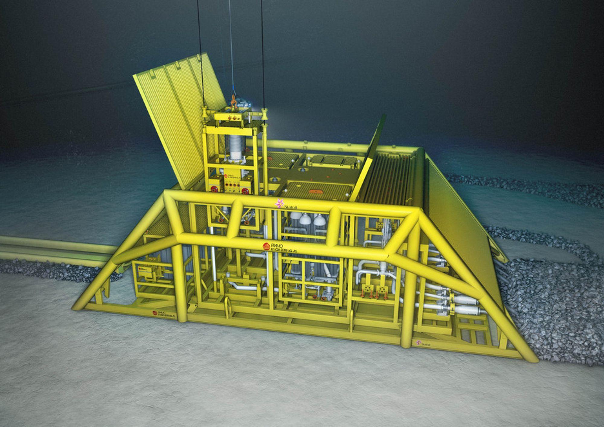 TRYKK: Kompressoren Framo Engineering har utviklet for Statoils Gullfkas Sør består av to kompressorer, to subsea kjølere, subsea manifold samt krontrollutrustning. Enheten er 35 meter lang, 10 meter bred og 12 meter høy.