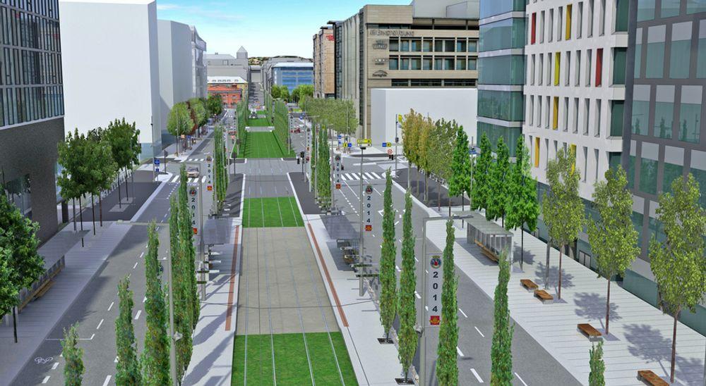 Dronning Eufemias gate blir en paradegate med en bredde på hele 43,5 meter. Fire entreprenører vil anlegg den. Ill.: Statens vegvesen/ViaNova
