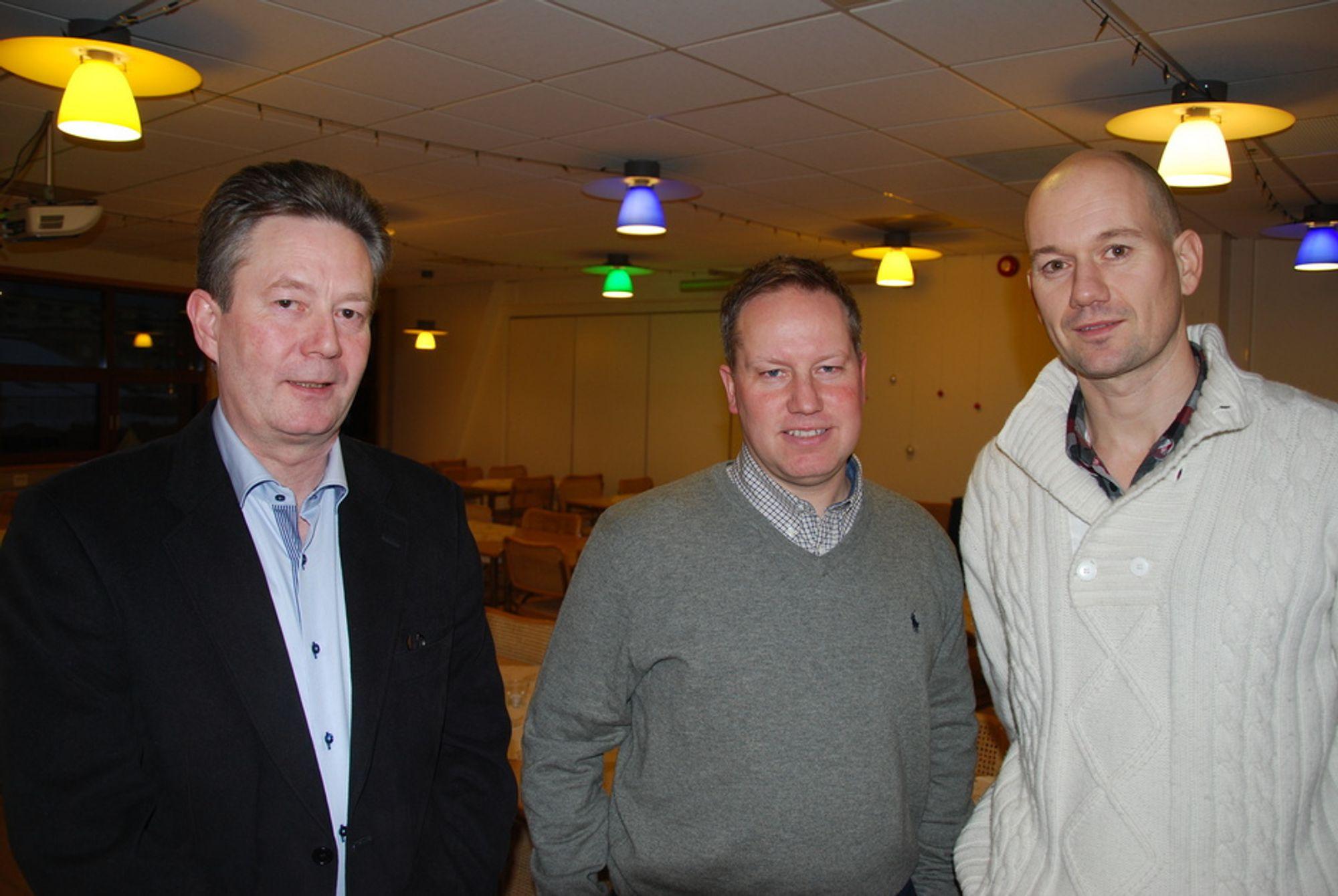 LEDERGRUPPEN: Fra venstre, administrerende direktør Geir Knudsen, direktør for Bygg og Eiendom Roar Smelhus og direktør for Infrastruktur og Miljø Lars Thorbjørnsen.