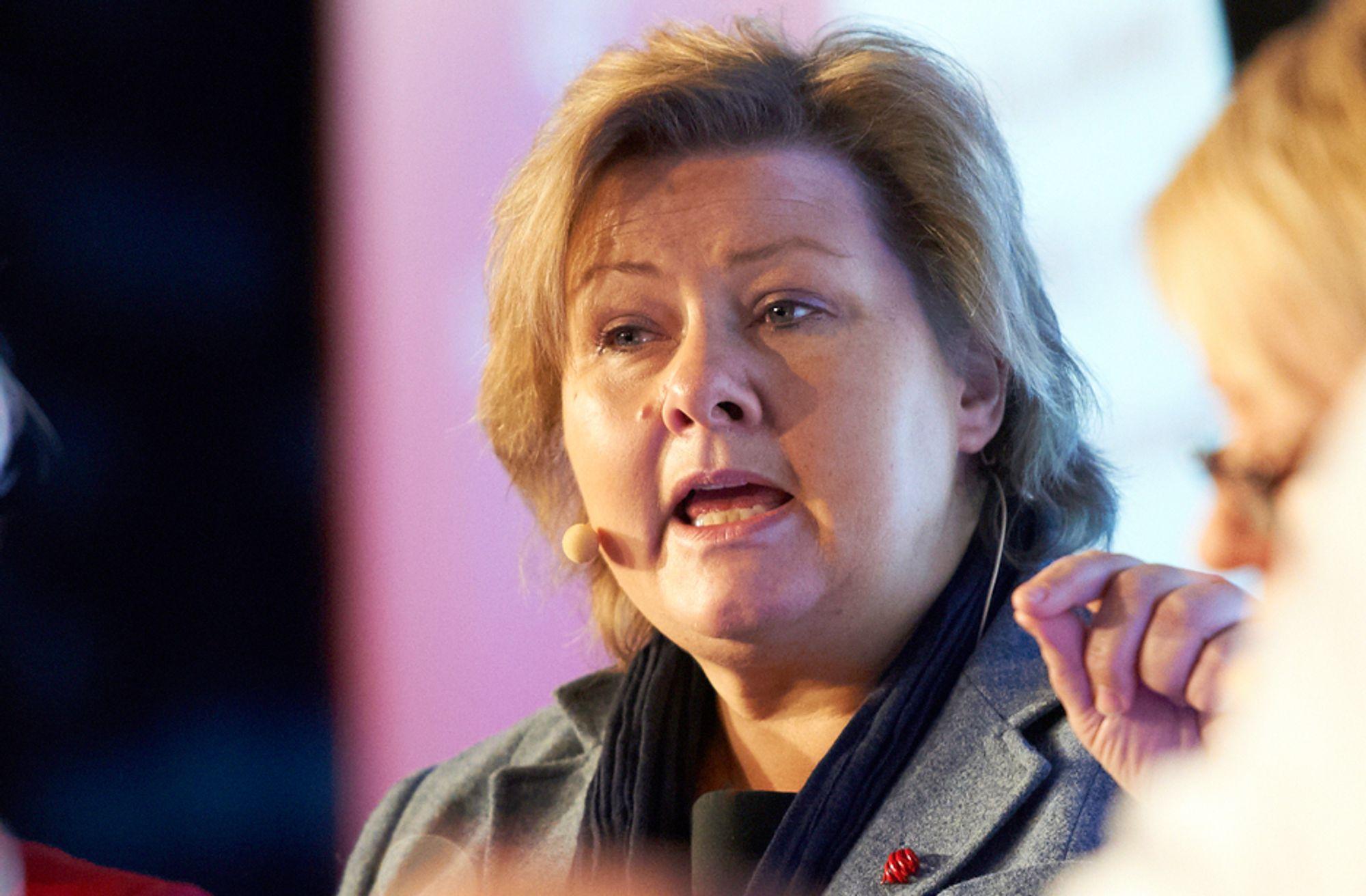 ØNSKER DEBATT: Høyre-leder Erna Solberg vil diskutere Statoils rolle på norsk sokkel.