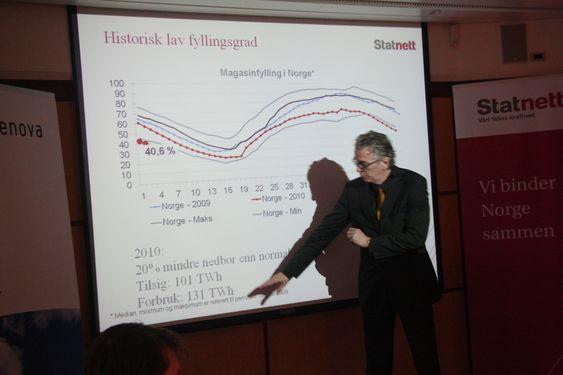 Statnett-sjef Auke Lont viser hvordan lavt tilsig og høyt forbruk i fjor ga en vanskelig kraftsituasjon. - Vi er ikke helt avhengige av svensk kjernekraft, sa han.