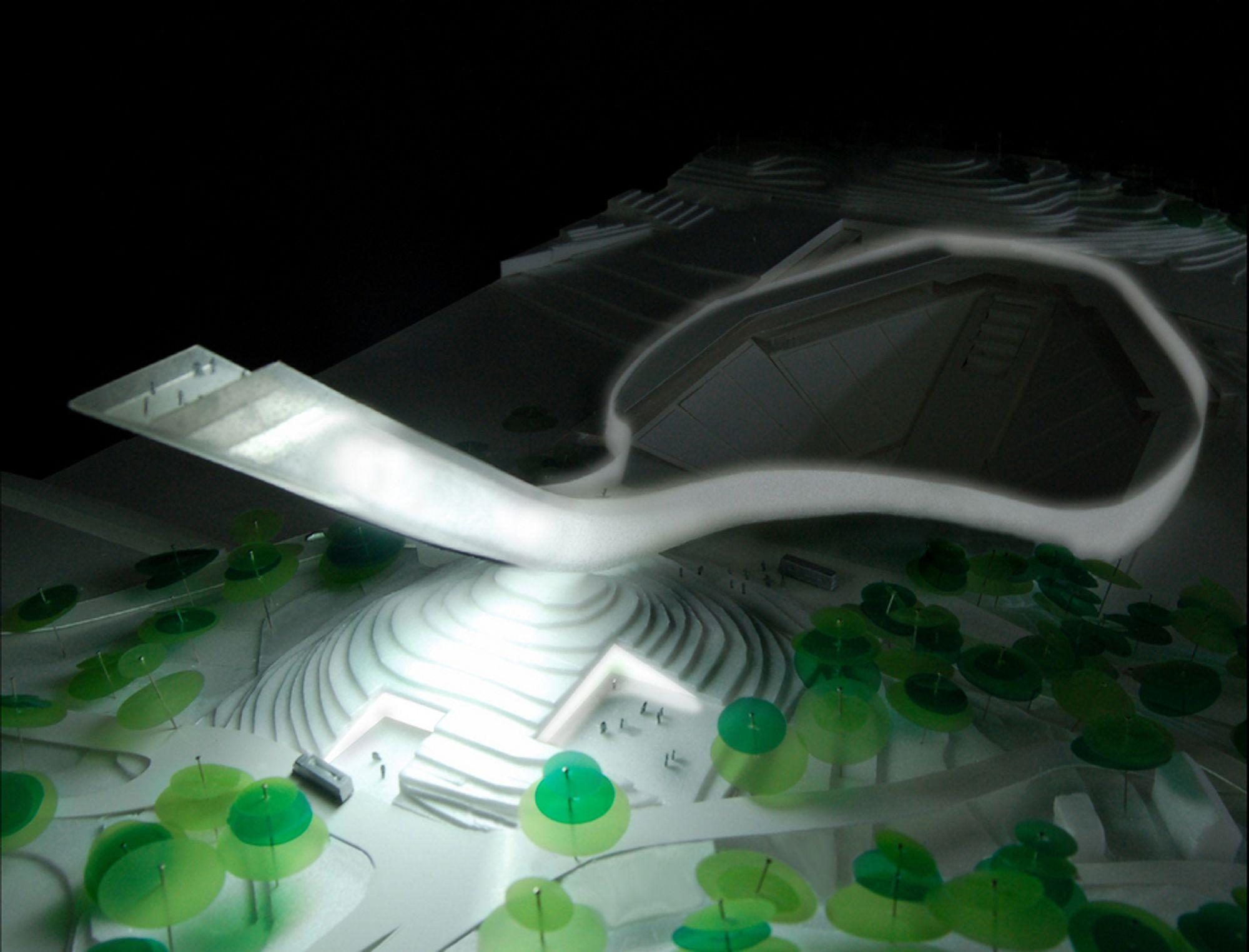 VINNER: Danske Julien de Smedt Architects står bak forslaget som vant arkitektkonkurransen for Nye Holmenkollen, men nå ser det ut til at den aldri vil bli bygd.
