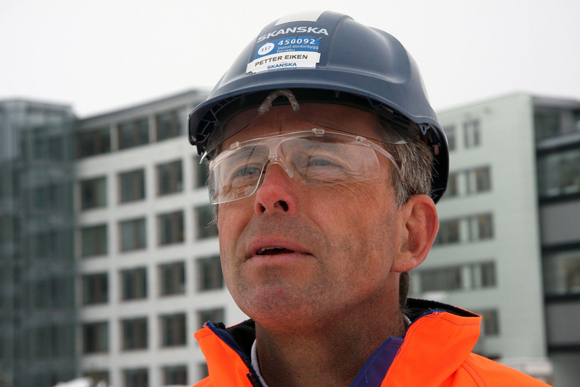 IKKE FORNØYD: Administrerende direktør i Skanska Norge, Petter Eiken, er langt fra fornøyd med resultatet så langt i år, men håper på forbedringer.