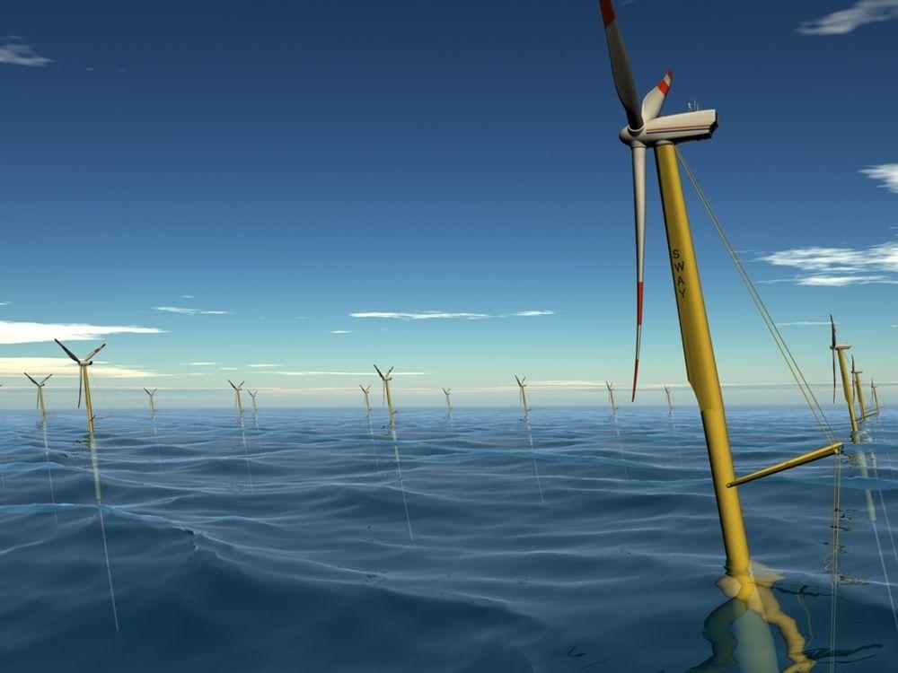 SWAYER I VINDEN: Oljebasen CCB på Kollsnes utenfor Bergen skal sammenstille en modell av Sways nye flytende understell for havvindturbiner. Selskapene bygger nå kompetanse for å kunne konkurrere om kontrakter i havvindmarkedet som vokser frem. Dette er en tidligere illustrasjon av Sways teknologi.