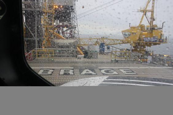 Brage-plattform fra helikopter