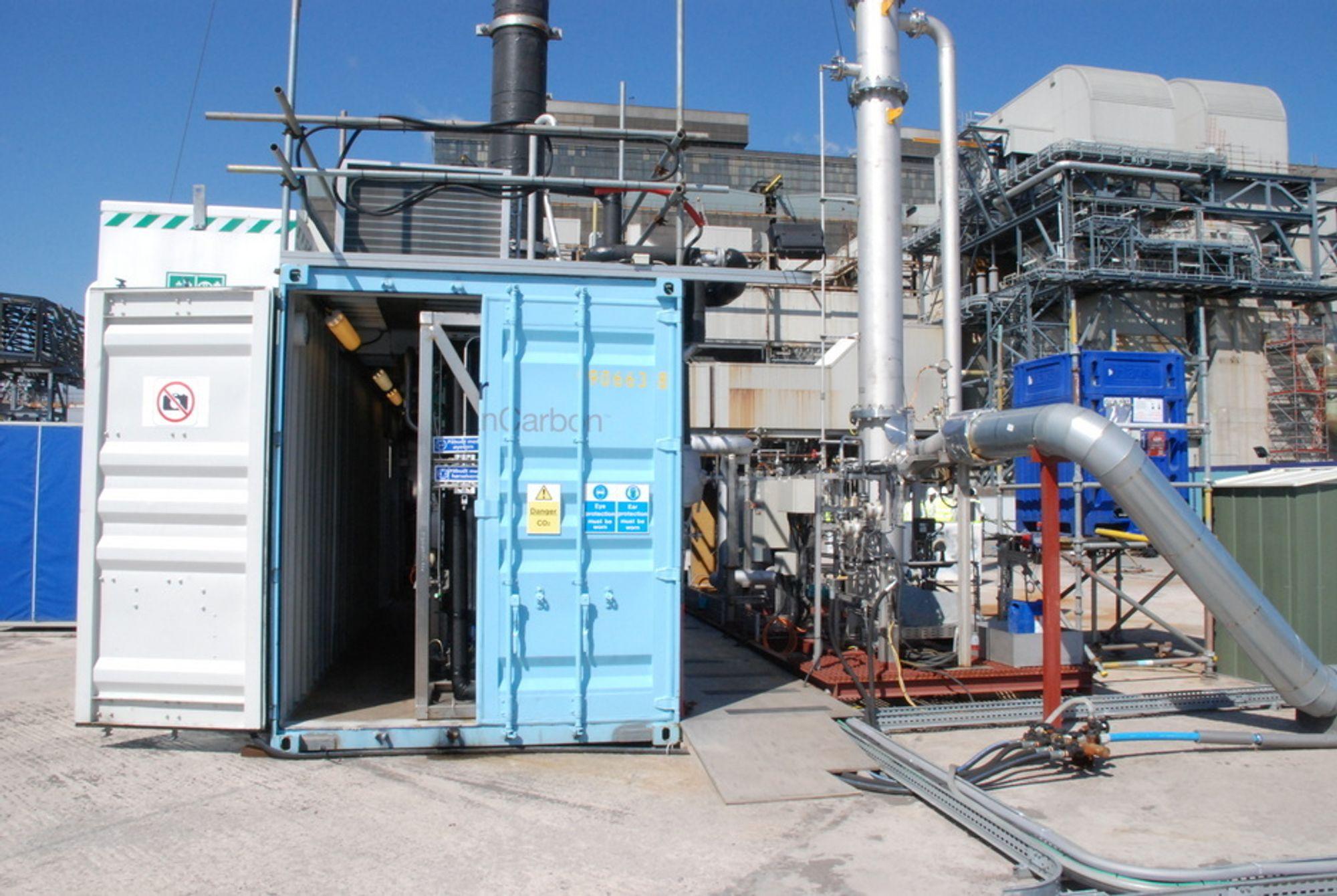 TIL USA: Aker Clean Carbons mobile testenhet (MTU) skal testes i Alabama, USA. Her fra tiden MTU'en var utplassert ved kullkraftverket i Longannet, Skotland.