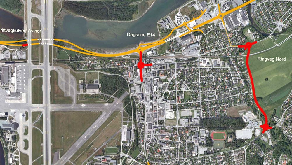 Vegstrekningen som er markert med rødt viser hvor arbeidet skal utføres. Som det framgår av kartet, blir det også arabeid ved flyplassen. Her skal Grunnarbeid støpe en kulvert over E 6. Over kulverten skal det gå en driftsveg for Avinor. Ill. Statens vegvesen