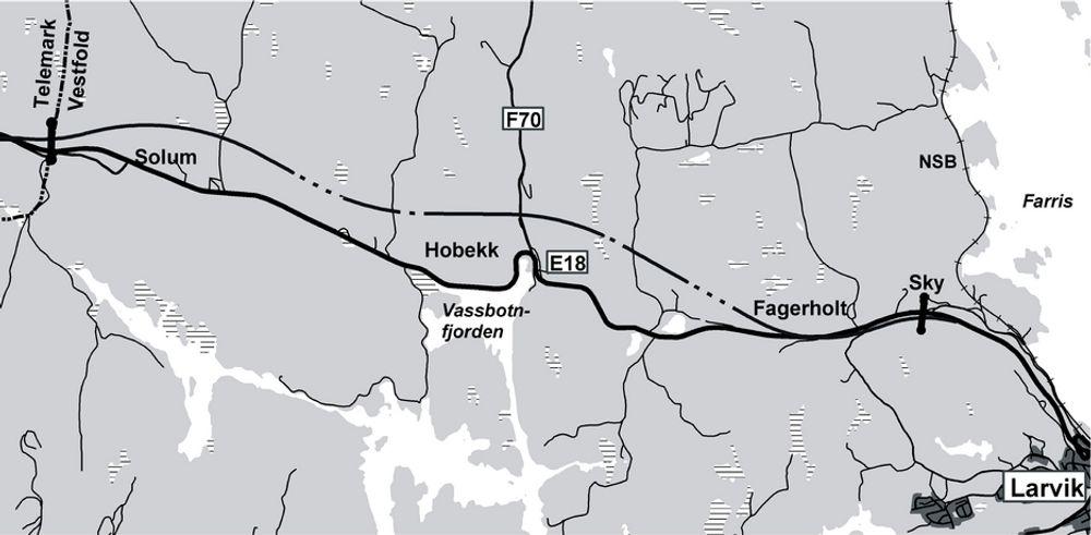 Et arbeidsfellesskap mellom Hæhre Entreprenør og Veidekke utfører anleggsarbeidet på ny E 18 mellom Sky og Langangen. Den som vil utføre elektroarbeidet, må gi anbud innen 8. mars.