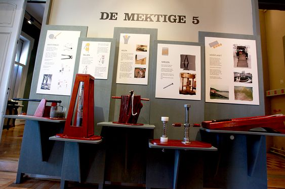 Klassisk kunnskap:  De mektige fem; vektstangen, taljen, kilen, skruen og skråplanet i en elegant presentasjon.