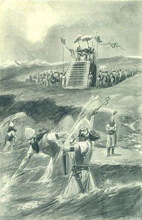 Xerxes pisker Hellespont som avstraffelse etter stormen som ødela de to broenen han hadde latt bygge over stredet.