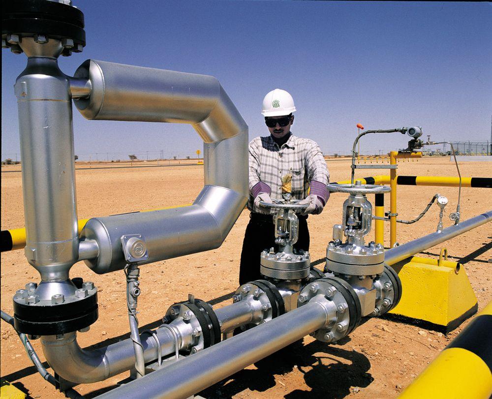 OLJEKRANER: En operatør for Saudi Aramco skrur på kranen. Nå vil Det internasjonale energibyrået IEA at Opec skal øke forsyningene til oljemarkedet. Hvis ikke kan de se stygt ut for den globale veksten.
