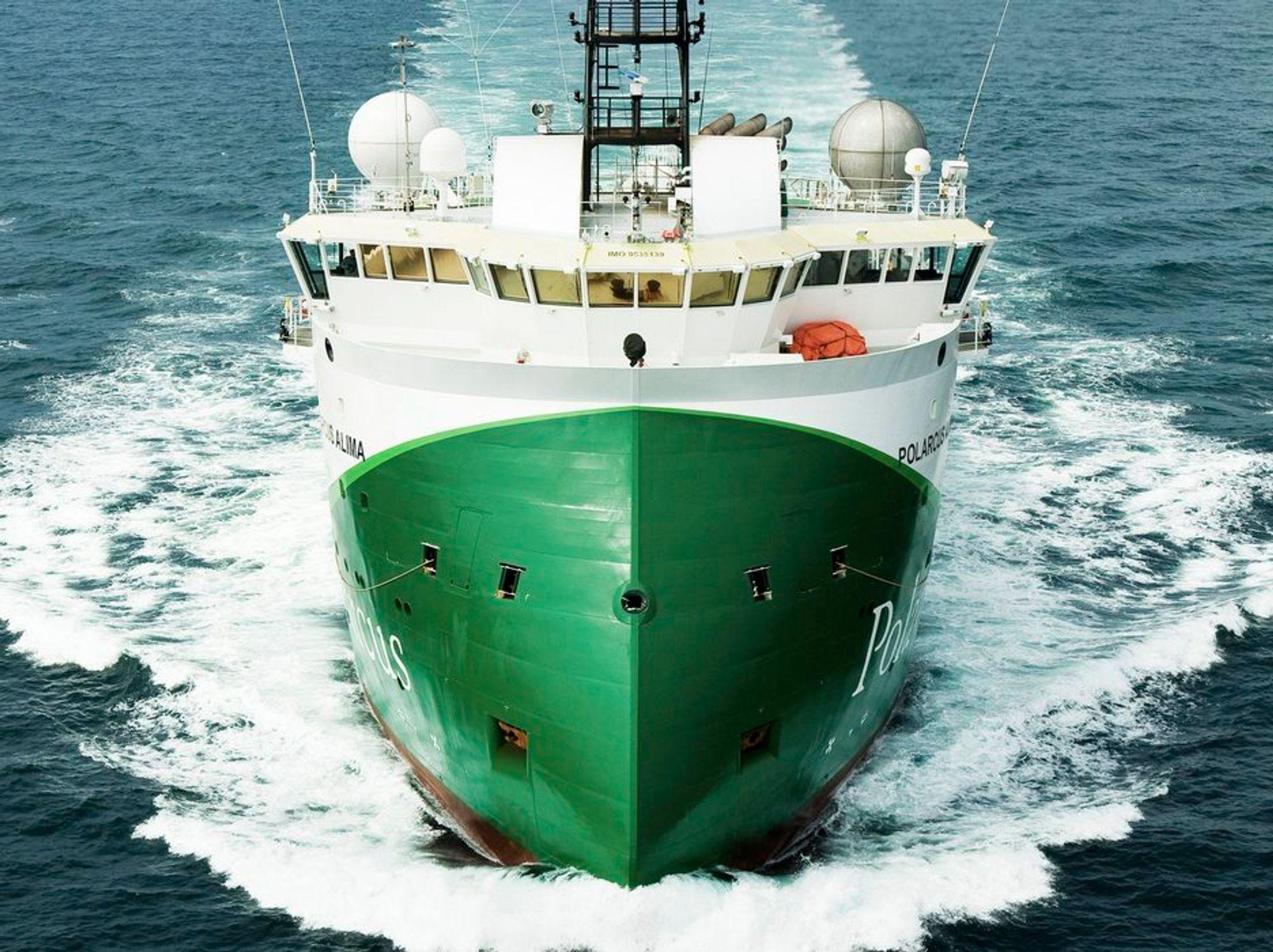PÅ VEI: Polarcus Altima med X-bow er deisgnet av Ulstein. Skipet har en trekkraft (bollard pull) på 135 tonn og  kan taue 12 streamere.