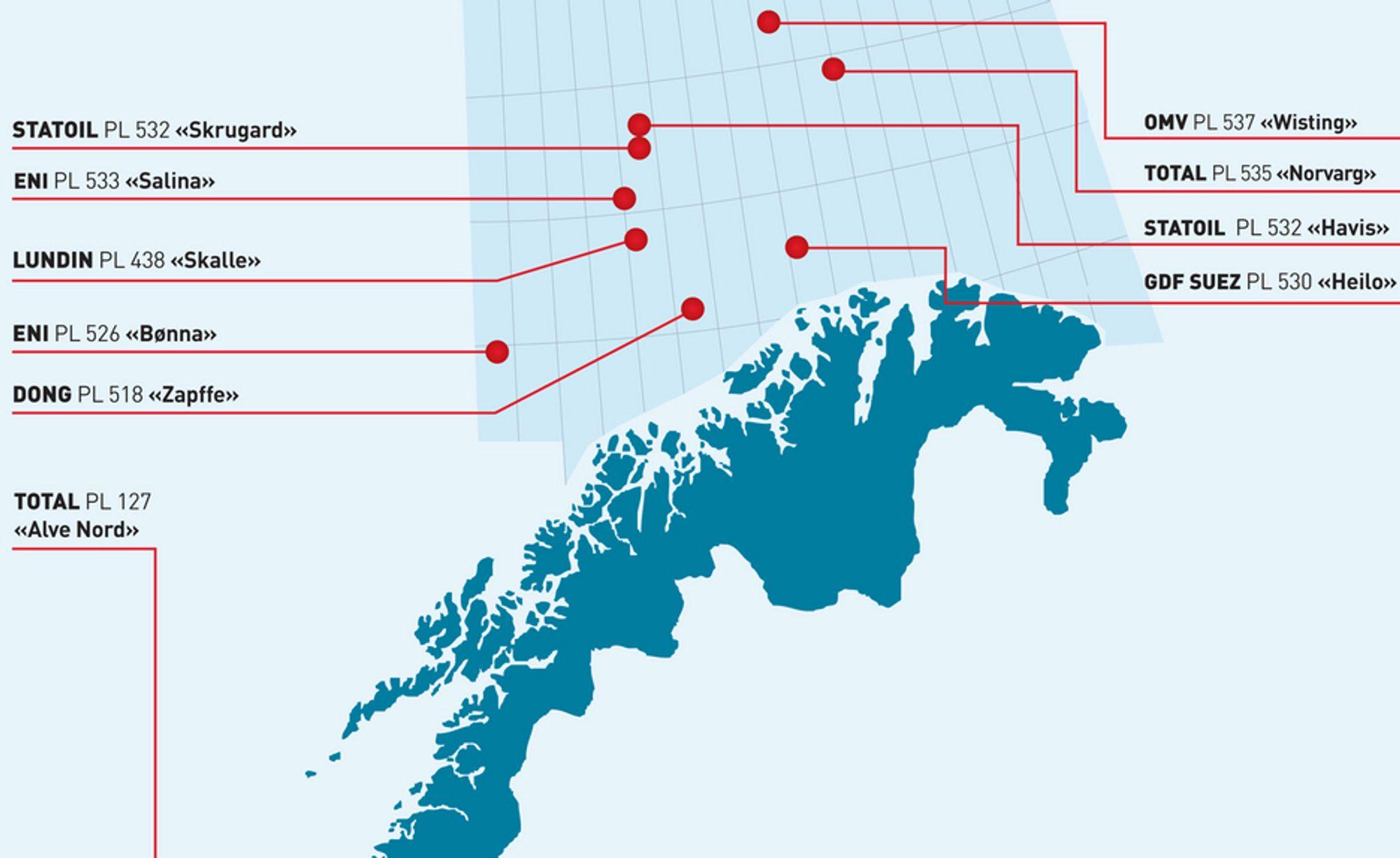 BOREBONANZA: ODs favorittliste viser flere spennende brønner som er planlagt boret i Barentshavet i 2012.