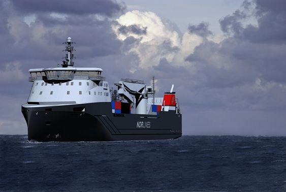 BØLGEBRYTER: De nye stykkgodsskipene til Nor Lines bygges med Rolls-Royce-design. Baugen og skrogformen gir lavere drivstofforbruk.