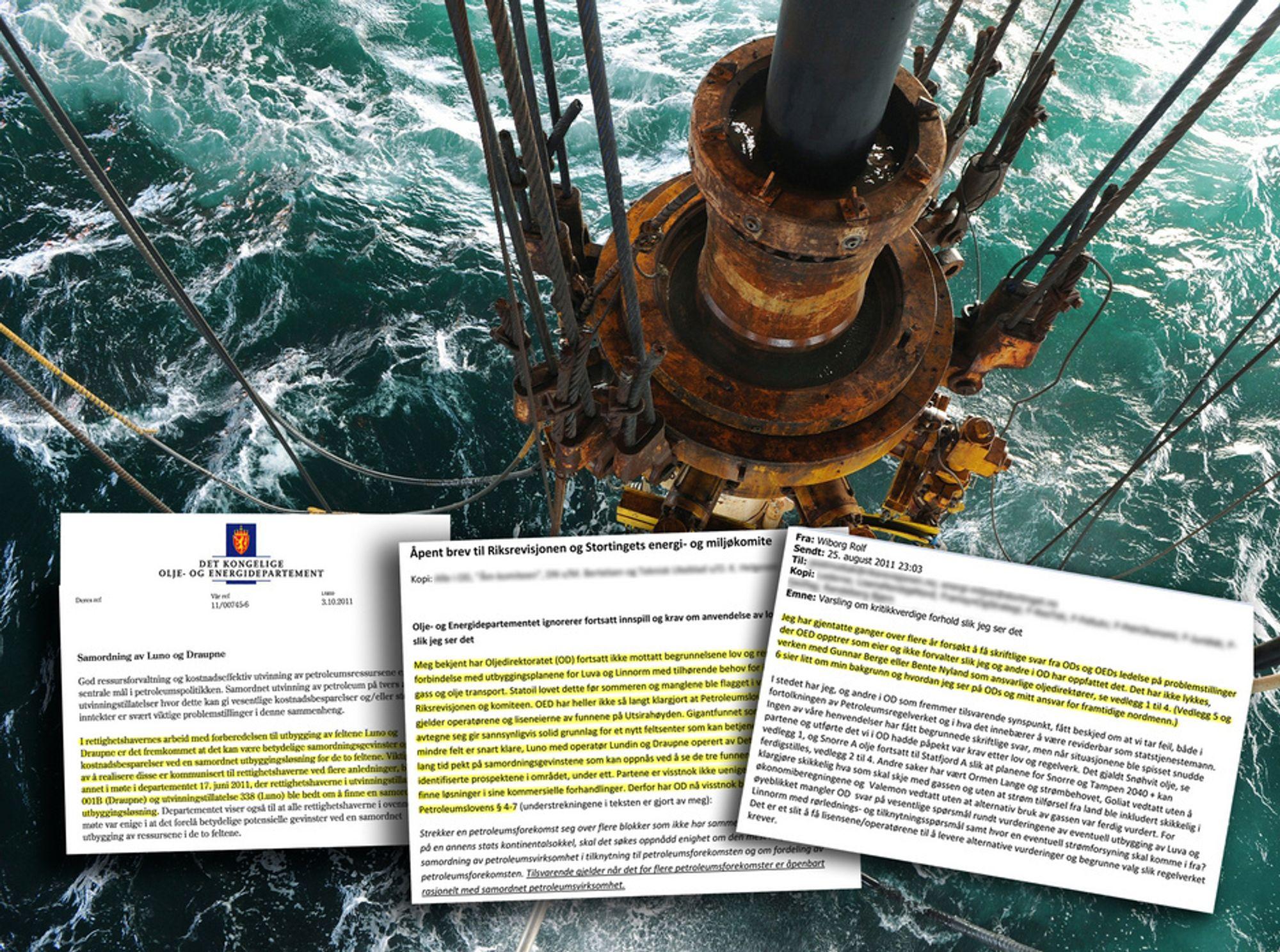 """I en rekke brev mellom OD og OED har det blitt varslet om """"kritkkverdig forvaltning"""" , krav om samordnet utbygging på Utsirahøyden og at Luno-utbyggingen bør holdes tilbake."""