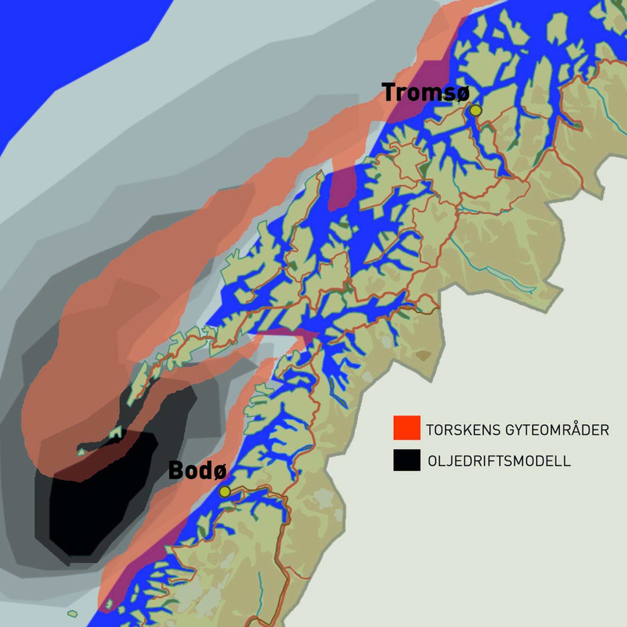 TRUER TORSKEN: Nordland V ligger oppstrøms av viktige torskegytefelt i Lofoten, og oljedriftssimuleringer viser at et oljeutslipp i området vil drive rett inn i Vestfjorden/Lofoten og treffe torskegytefeltene. (ILL: Jørgen Skjelsbæk)