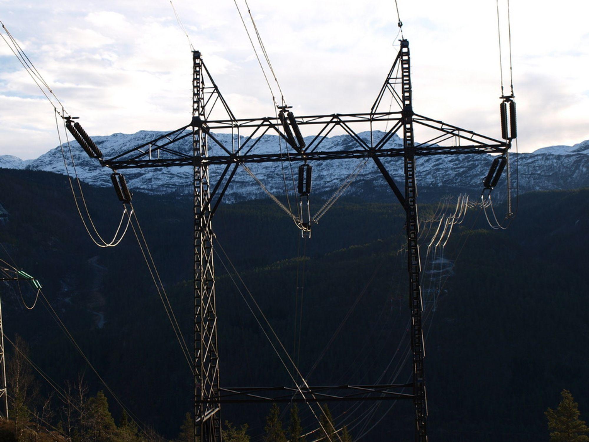 KAMUFLERT MAST: Slike kamuflerte kraftmaster uten lysmerking ved fjordspenn kan bli fatale for helikopterflyvere i mørke og dårlig vær, advarer Norsk Luftambulanse.