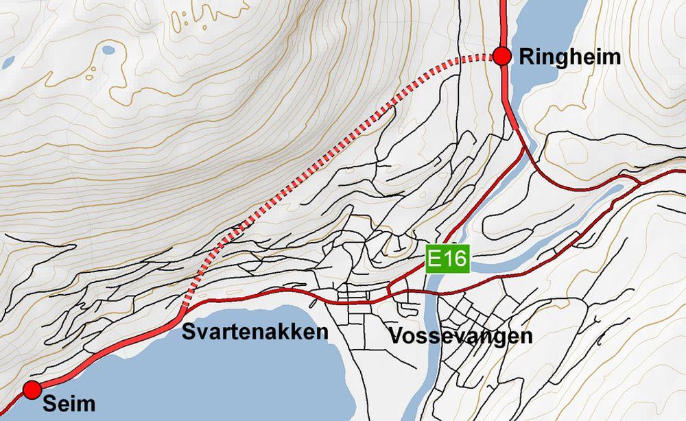 Vangstunnelen er markert med stiplet linje. De som vil gi anbud på den, må regne ferdig innen 20. september. Ill.: Statens vegvesen
